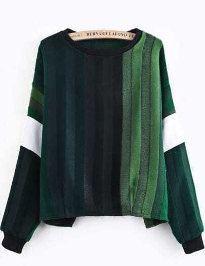 Green Gradients Long Sleeve Striped Blouse