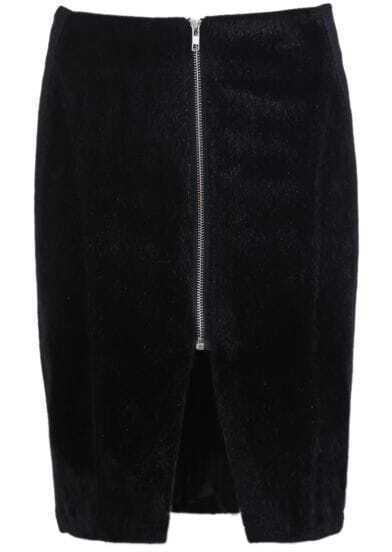 Black Zipper Split Bodycon Skirt