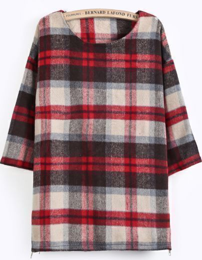 Red Half Sleeve Plaid Loose Blouse