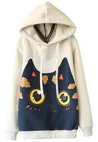 Grey Hooded Long Sleeve Cat Print Sweatshirt
