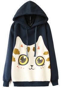 Navy Hooded Long Sleeve Cat Print Sweatshirt