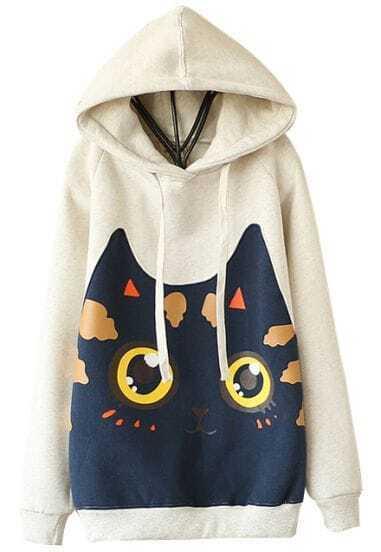 Grey Hooded Long Sleeve Cat Print Sweatshirt