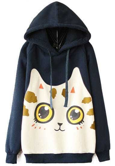 Navy Hooded Long Sleeve Cat Print Sweatshirt