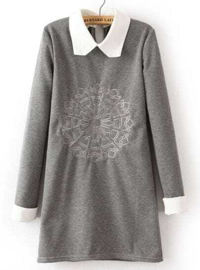 Grey Contrast Lapel Long Sleeve Embroidered Dress
