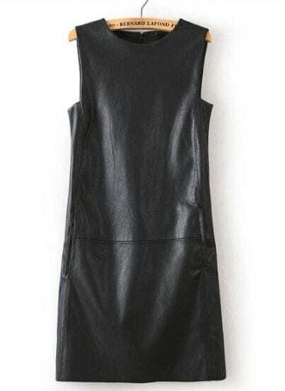 Black Round Neck Sleeveless PU Leather Dress