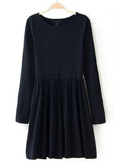 Black Round Neck Long Sleeve Pleated Dress