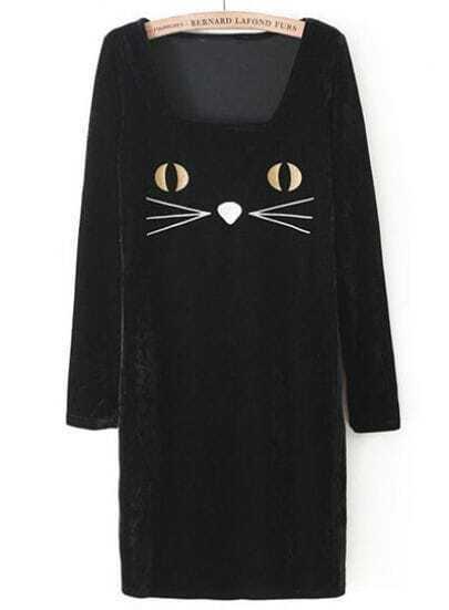 Black Long Sleeve Cat Face Print Velvet Dress