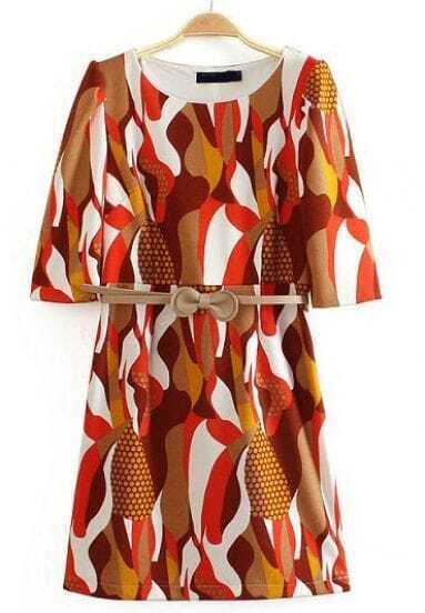 Khaki Half Sleeve Abstract Pattern Dress