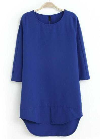 Blue Half Sleeve High Low Straight Dress
