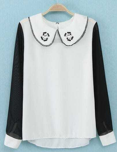 White Contrast Black Long Sleeve Rhinestone Blouse