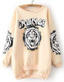 Apricot Long Sleeve Tiger Print Asymmetrical Sweatshirt