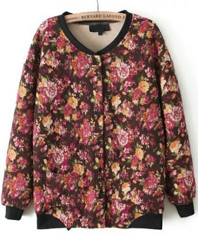 Orange Long Sleeve Floral Parka Jacket