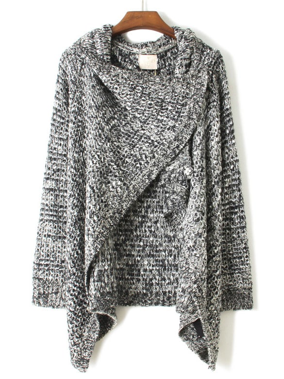 Grey Draped Neck Long Sleeve Loose Sweater -SheIn(Sheinside)