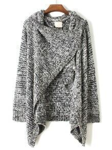 Grey Draped Neck Long Sleeve Loose Sweater