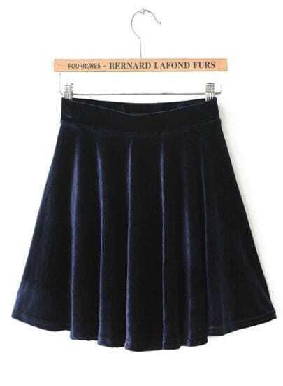 Navy Pleated Velvet Skirt