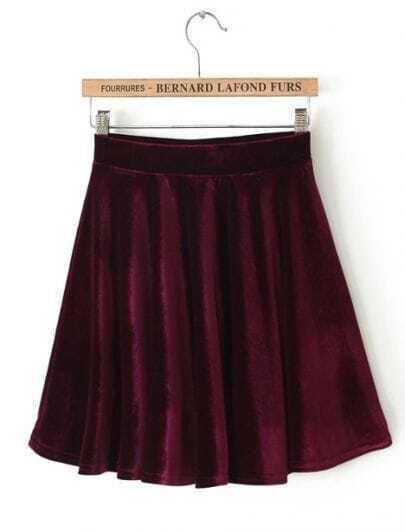 Wine Red Pleated Velvet Skirt