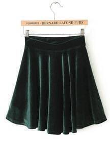 Army Green Pleated Velvet Skirt