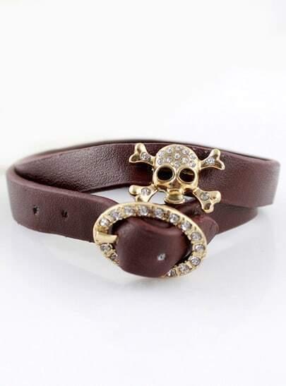 Gold Diamond Skull Brown Leather Bracelet
