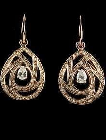 Gold Diamond Hollow Drop Dangle Earrings