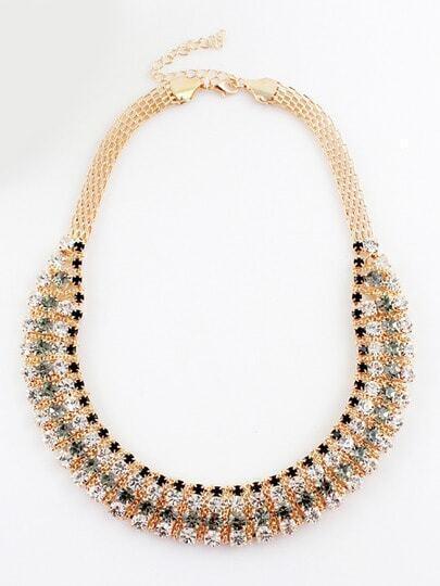 Black White Diamond Gold Chain Necklace