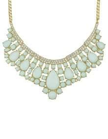 Green Drop Gemstone Gold Collar Necklace