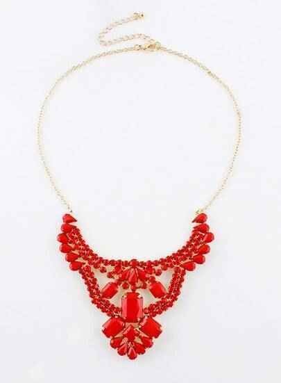 Red Geometric Gemstone Gold Chain Necklace