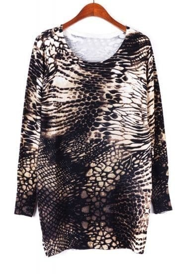 Khaki Long Sleeve Serpentine Print Sweater Dress