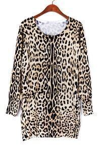 Khaki Long Sleeve Leopard Print Sweater Dress