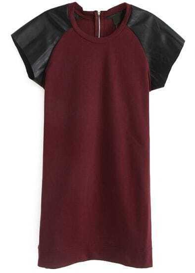 Wine Red Contrast PU Leather Short Sleeve Dress