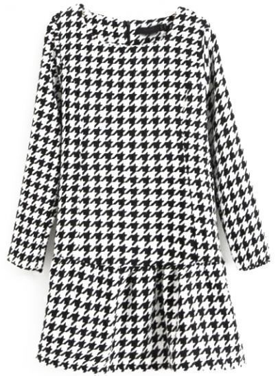 Black White Long Sleeve Houndstooth Slim Dress