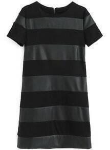 Black Contrast PU Leather Striped Slim Dress