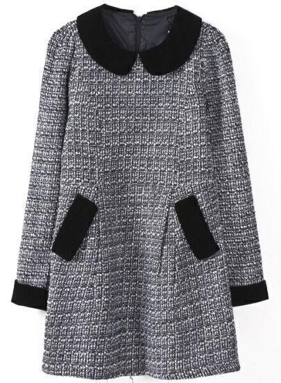 Black White Long Sleeve Plaid Straight Tweed Dress