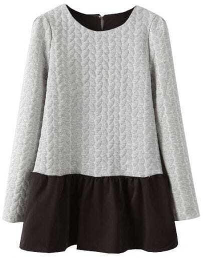 Grey Long Sleeve Contrast Black Hem Dress
