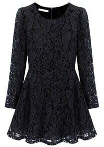 Black Long Sleeve Floral Lace Pleated Dress