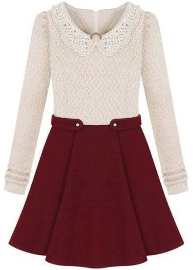 Beige Long Sleeve Contrast Wine Red Bead Dress