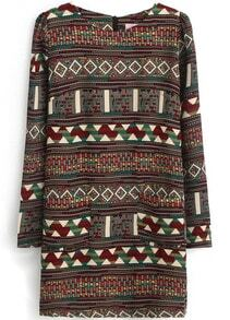 Red Long Sleeve Tribal Pattern Straight Dress