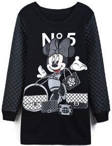 Black Contrast PU Leather Mickey Print Dress