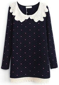 Navy Contrast Lace Collar Bow Print Dress
