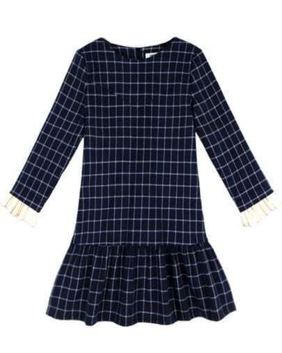 Navy Long Sleeve Plaid Ruffle Flare Dress