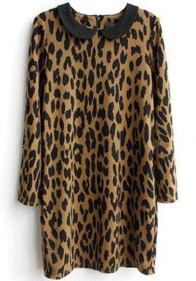Leopard Lapel Long Sleeve Slim Straight Dress