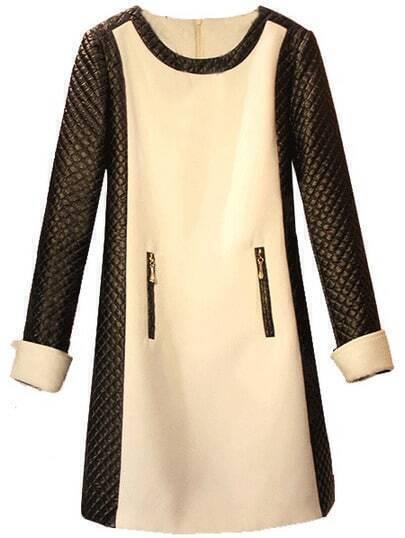 Apricot Contrast PU Leather Diamond Patterned Dress
