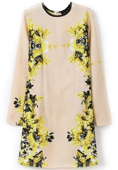 Yellow Round Neck Long Sleeve Floral Slim Dress