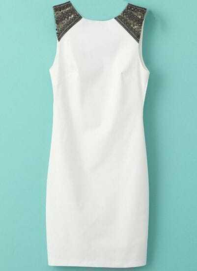White Sleeveless Sequined Shoulder Bodycon Dress