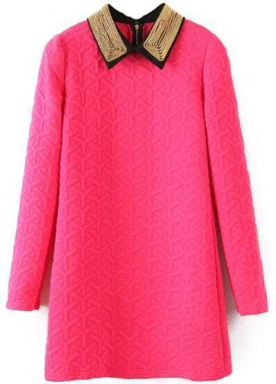 Rose Red Lapel Long Sleeve Geometric Pattern Dress