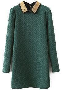 Green Lapel Long Sleeve Geometric Pattern Dress