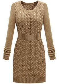 Khaki Long Sleeve Cable Knit Sweater Dress