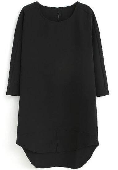 Black Half Sleeve High Low Straight Dress