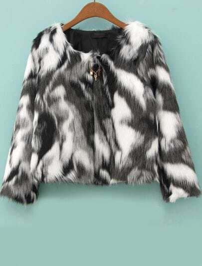Grey White Long Sleeve Crop Faux Fur Coat