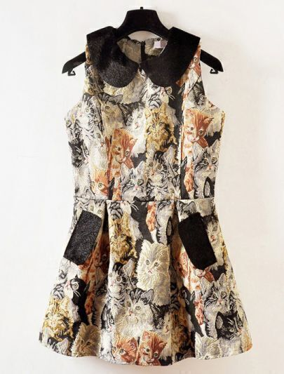 Khaki Sleeveless Cats Embroidered Dress