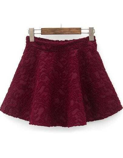 Wine Red Elastic Waist Embroidered Pleated Skirt